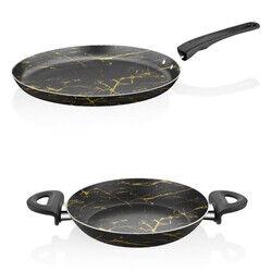 Papilla Desert 25 cm Krep Tava + 20 Cm Yumurta Sahanı, Siyah