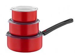 Papilla - Papilla Redio 7'li 12-14-16 Cm Tava Seti, Kırmızı
